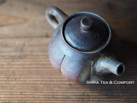 TAKASHI SAITO Bizen Simple Pumpkin Back Handle Teapot 備前後手