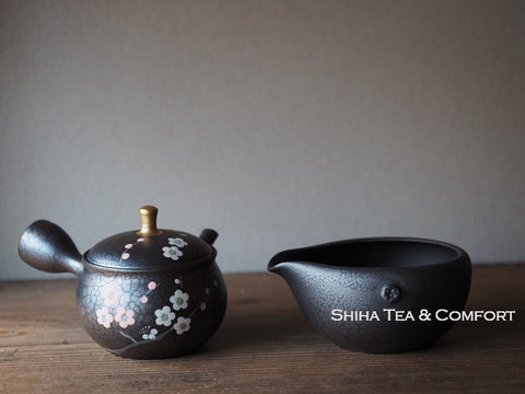 SHORYU Plum Flower Oil Drops Teapot & Yuzamashi Pitcher昭龍梅花