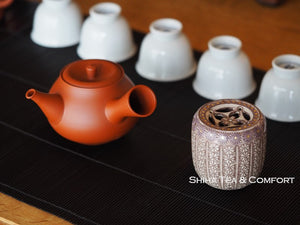 Teapot Lid Holder Mishima Stamp Art  (Futaoki) 印花蓋置