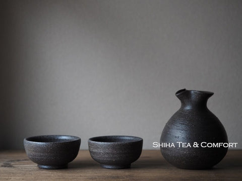 SUZU-Yaki Black Ceramic Ware for Tea Sake  珠洲焼