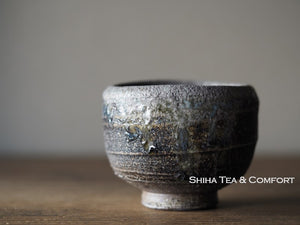 Wood Fired SUZU Ware Shinohara Takashi Black Blue Cup 珠洲篠原敬 X4