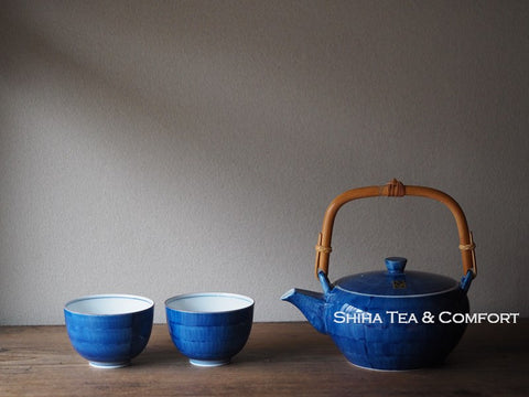 Japanese Hand Paint Blue Porcelain Teapot Set (Second Hand)