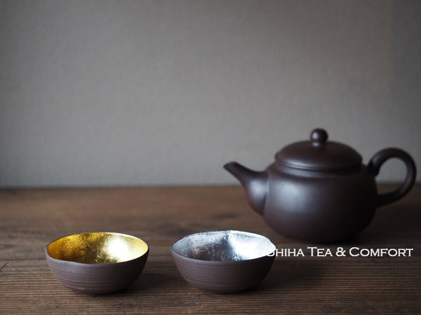 Gold Leaf, Silver Leaf Mini Ceramic Tea Cup Set