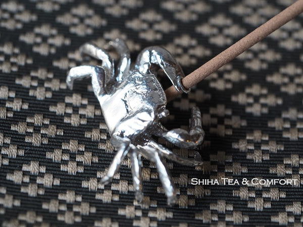 Small Crab Incense Holder Stand Silver 999