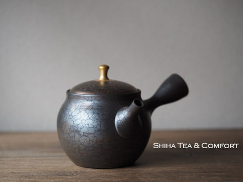 SHORYU Oil Drop Red & Gold Lid  Teapot 昭龍油滴