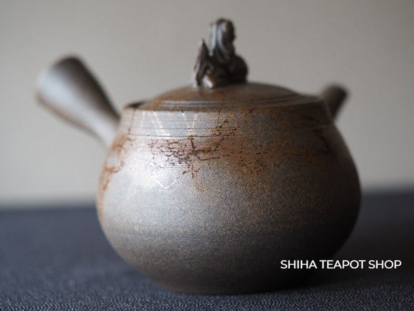 JIN Guardian dog Carbonized Grey Seaweed Mogake Teapot 谷川仁藻掛