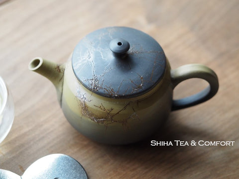 Hakusan Seaweed Green Smoked Black Back Handle Kyusu Teapot 常滑白山