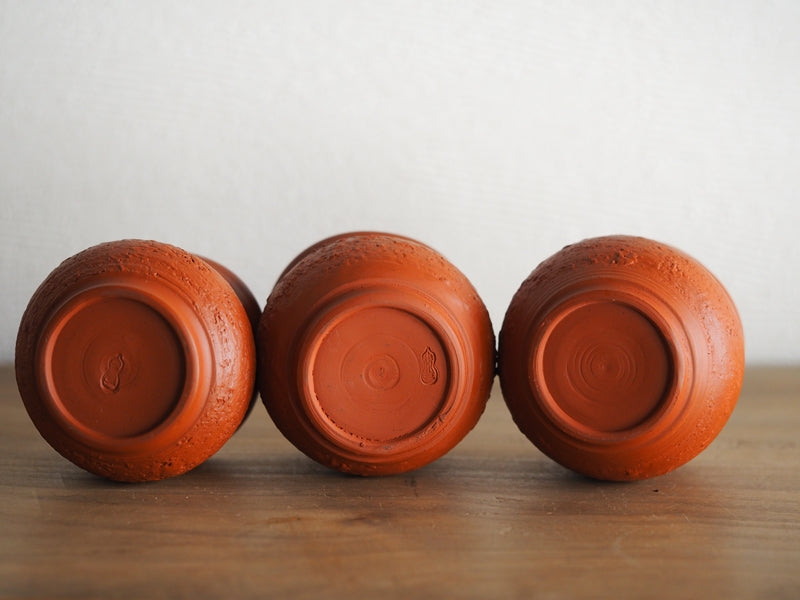 MOTOZO Red Clay cups with animal 3 pcs 素三朱泥杯