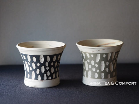 KINJI Kiln White Clay Pair Tokoname Cups 憲児白泥杯