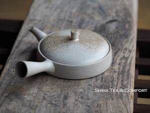 JINSHU Flat White Oyster Shell Teapot(Wood Box with artist's signature (certificate) ) 甚秋