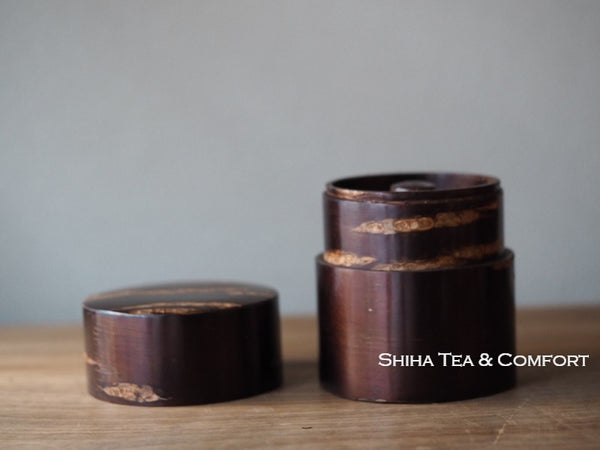 Mountain Cherry Tree Bark Small Tea Canister (Polished) & Tea Leaf Spoon