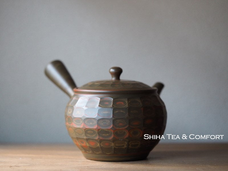 YUSEN Facet Nuance Color Marble Clay Teapot Green/ Red [JP] 友仙