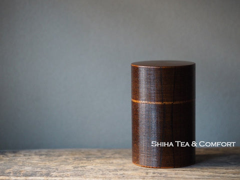 Japan YAMANAKA Tea canister Ripples ₋ Wood Craft Beautiful Lines