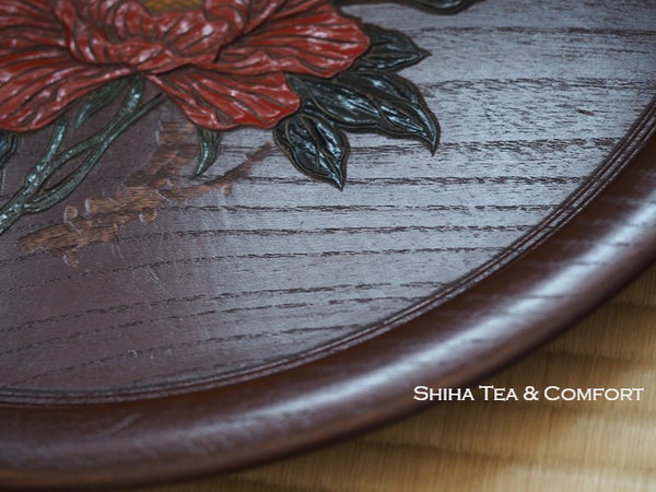 Japanese Vintage Wood Carving Art Tea Tray 29㎝  1970