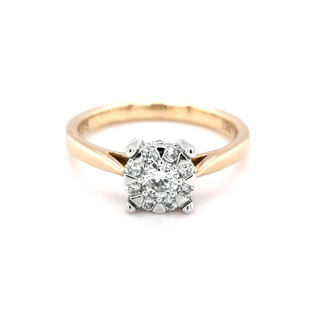 9ct Yellow Gold 0.30ct Diamond Cluster Style Ring - Sonny's Jewellers