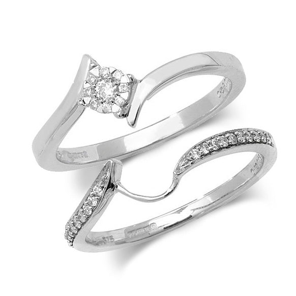 9ct White Gold 0.18ct Diamond Bridal Set - Sonny's Jewellers