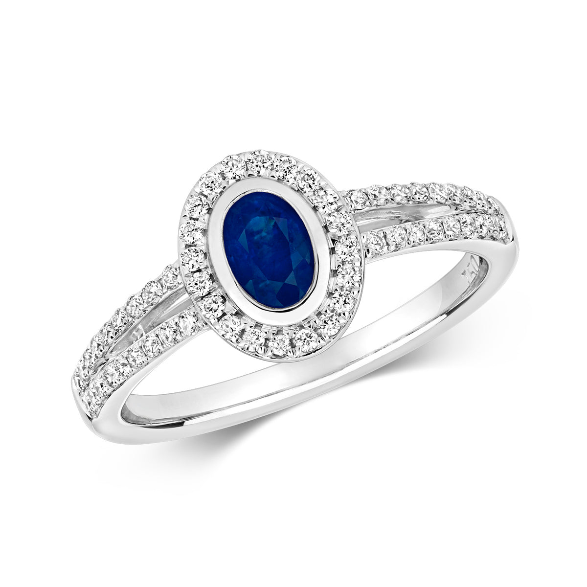 9ct White Gold Blue Sapphire and Diamond Ring