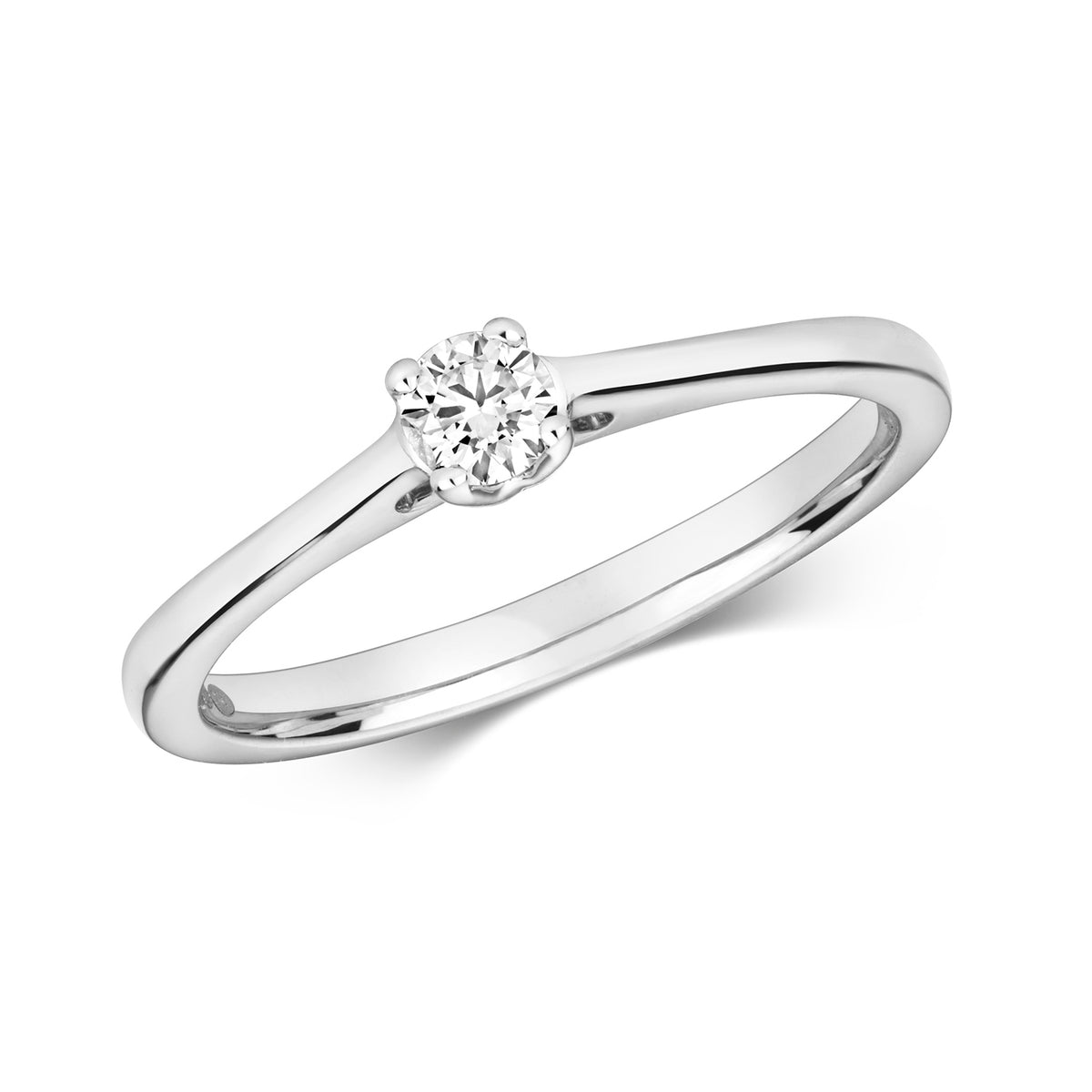 9ct White Gold 0.15ct Diamond Solitaire Engagement Ring