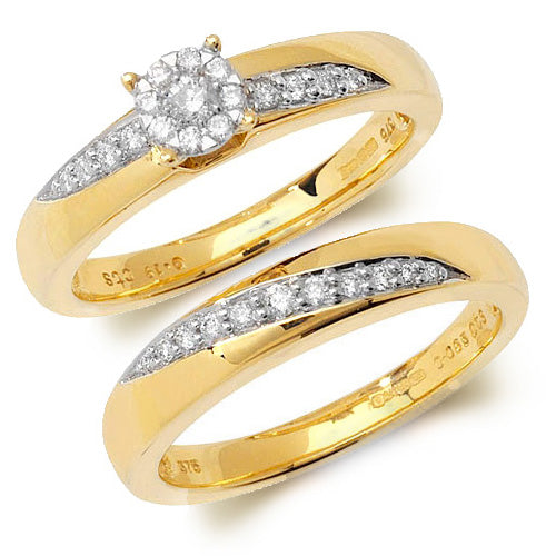 9ct Yellow Gold Diamond Bridal Set 0.28ct - Sonny's