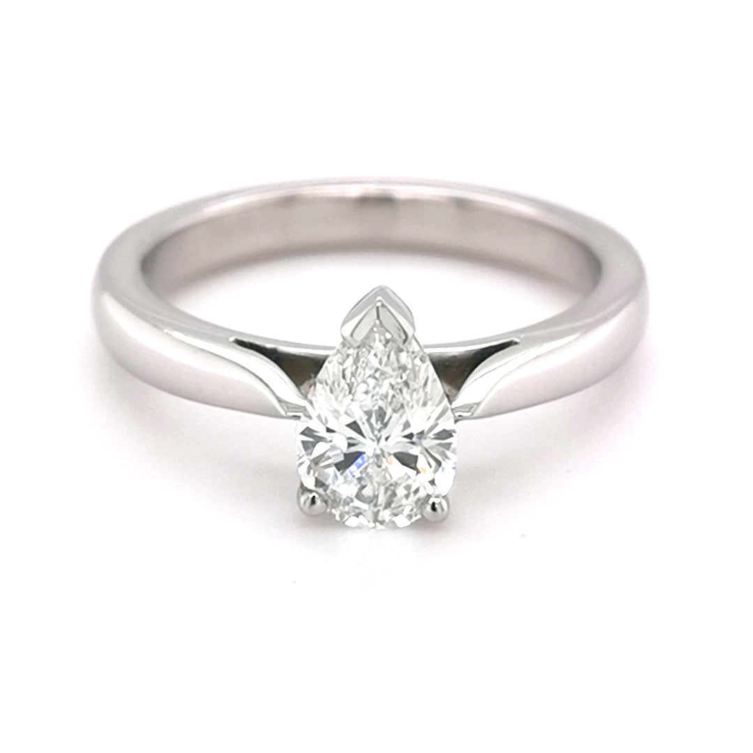 Platinum 0.77ct Pear Cut Diamond Ring - Sonny's