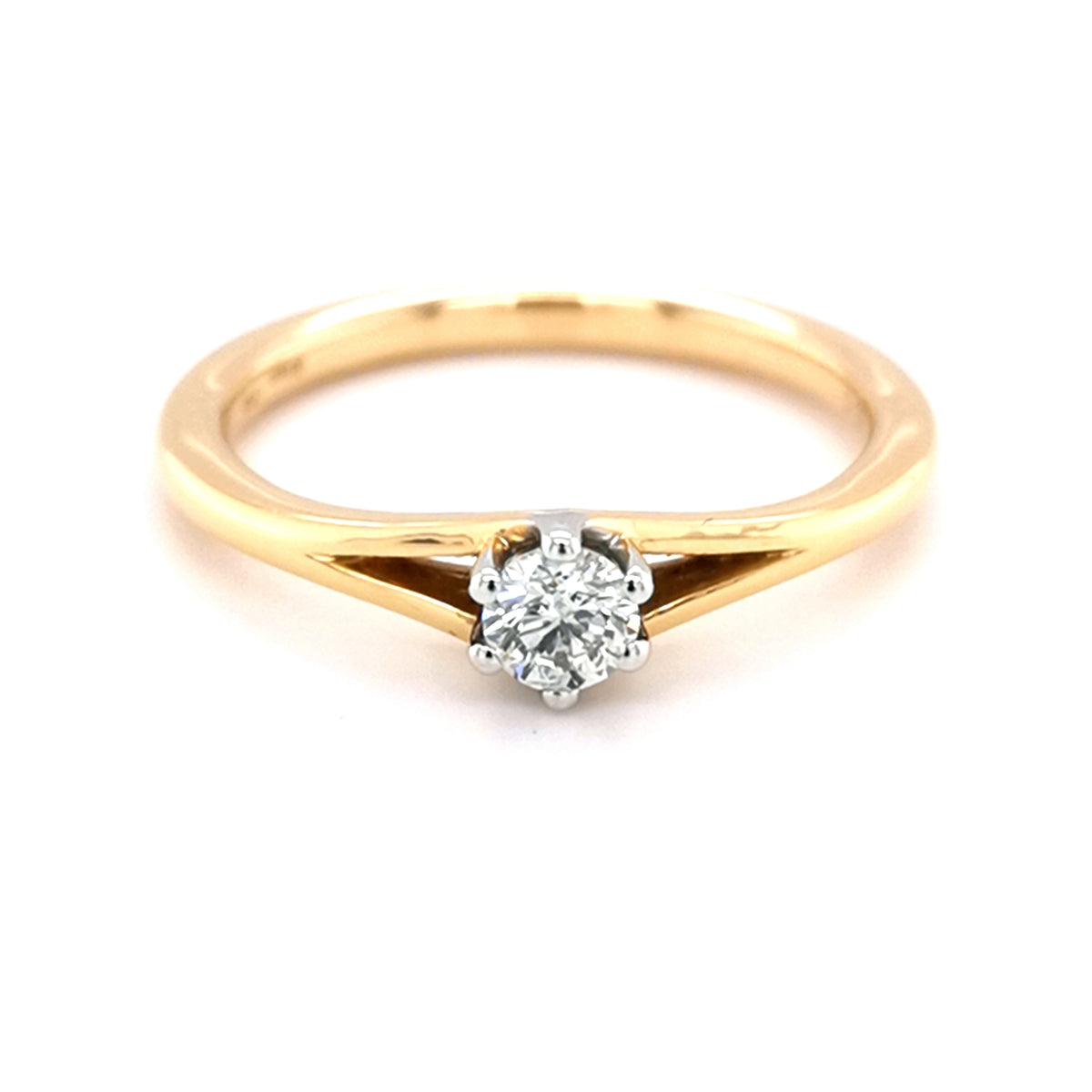 18ct Yellow Gold 0.27ct Diamond Solitare Ring - Sonny's