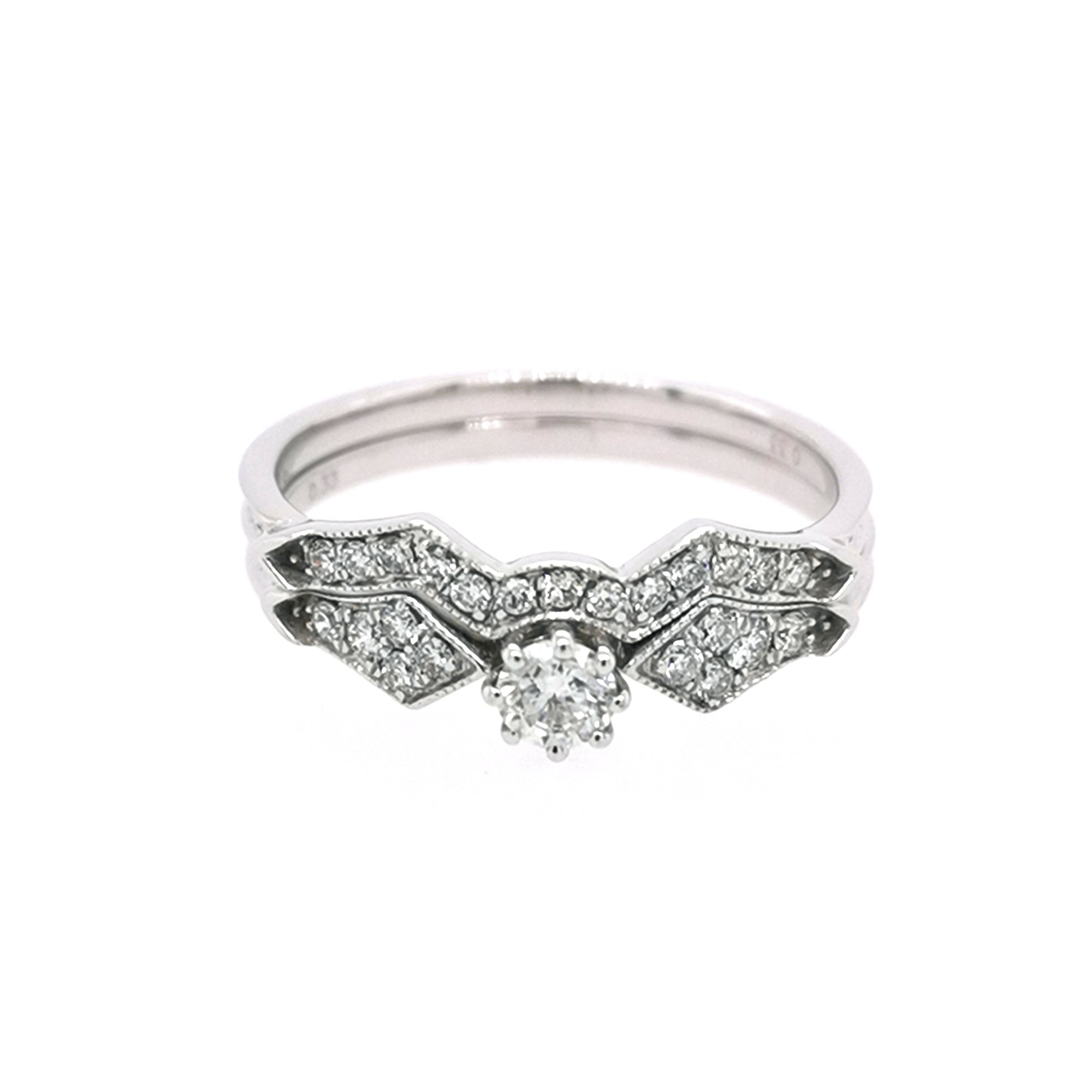 9ct White Gold Vintage Style Diamond Bridal Set 0.30ct - Sonny's Jewellers