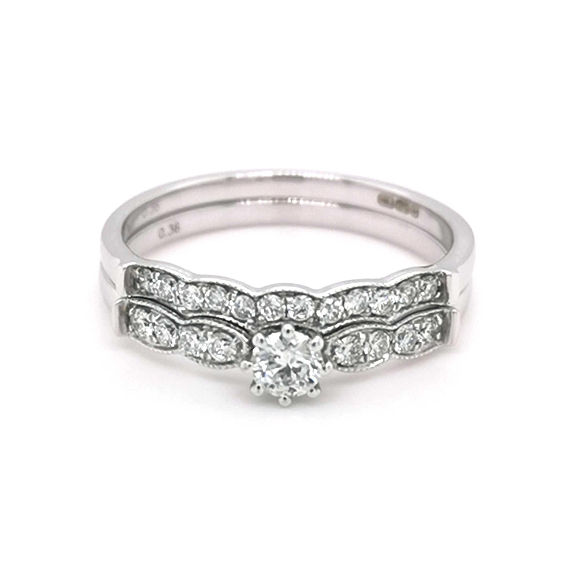 9ct White Gold Vintage Style Diamond Bridal Set 0.32cts - Sonny's Jewellers
