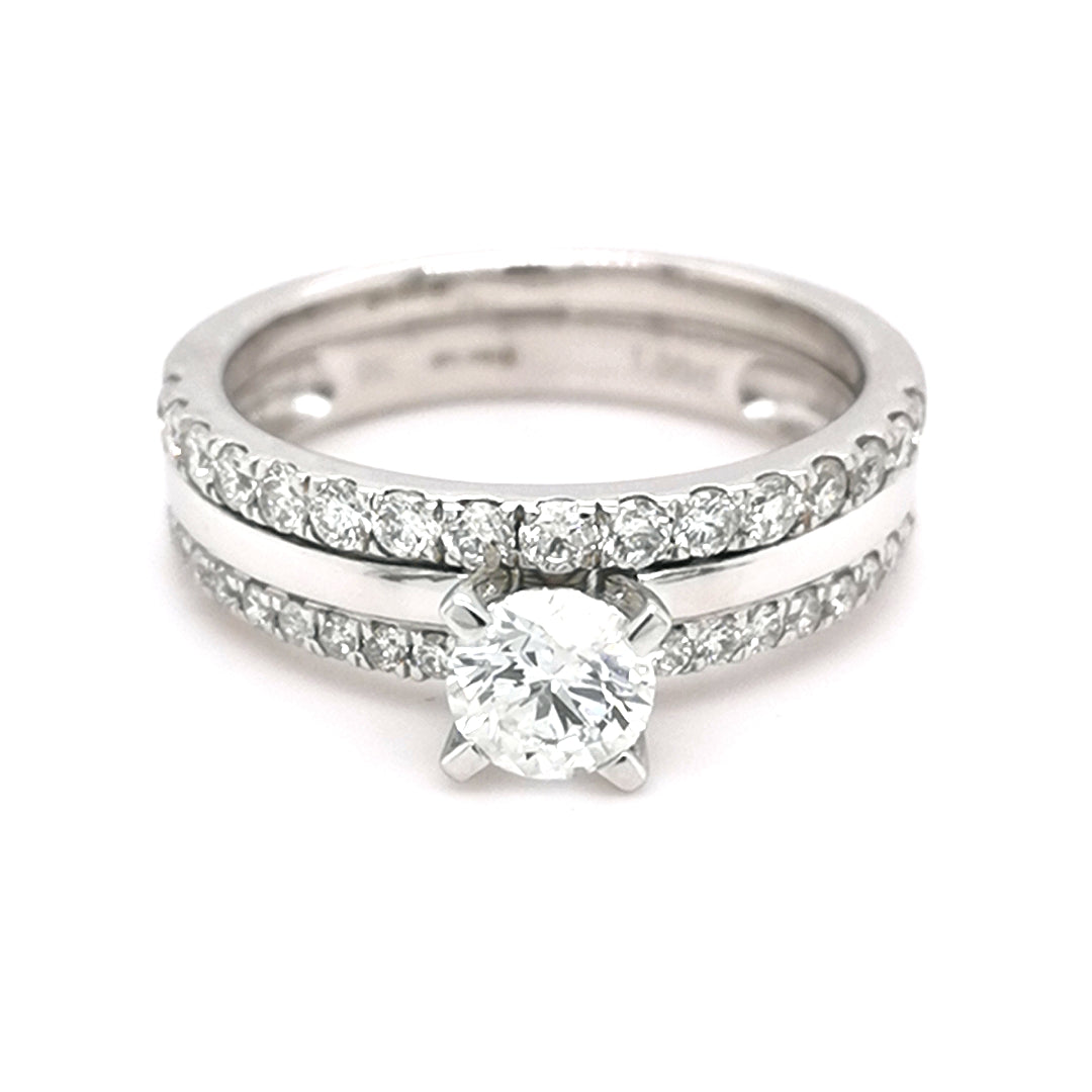 9ct White Gold Round Diamond Bridal Set 1.00ct - Sonny's Jewellers