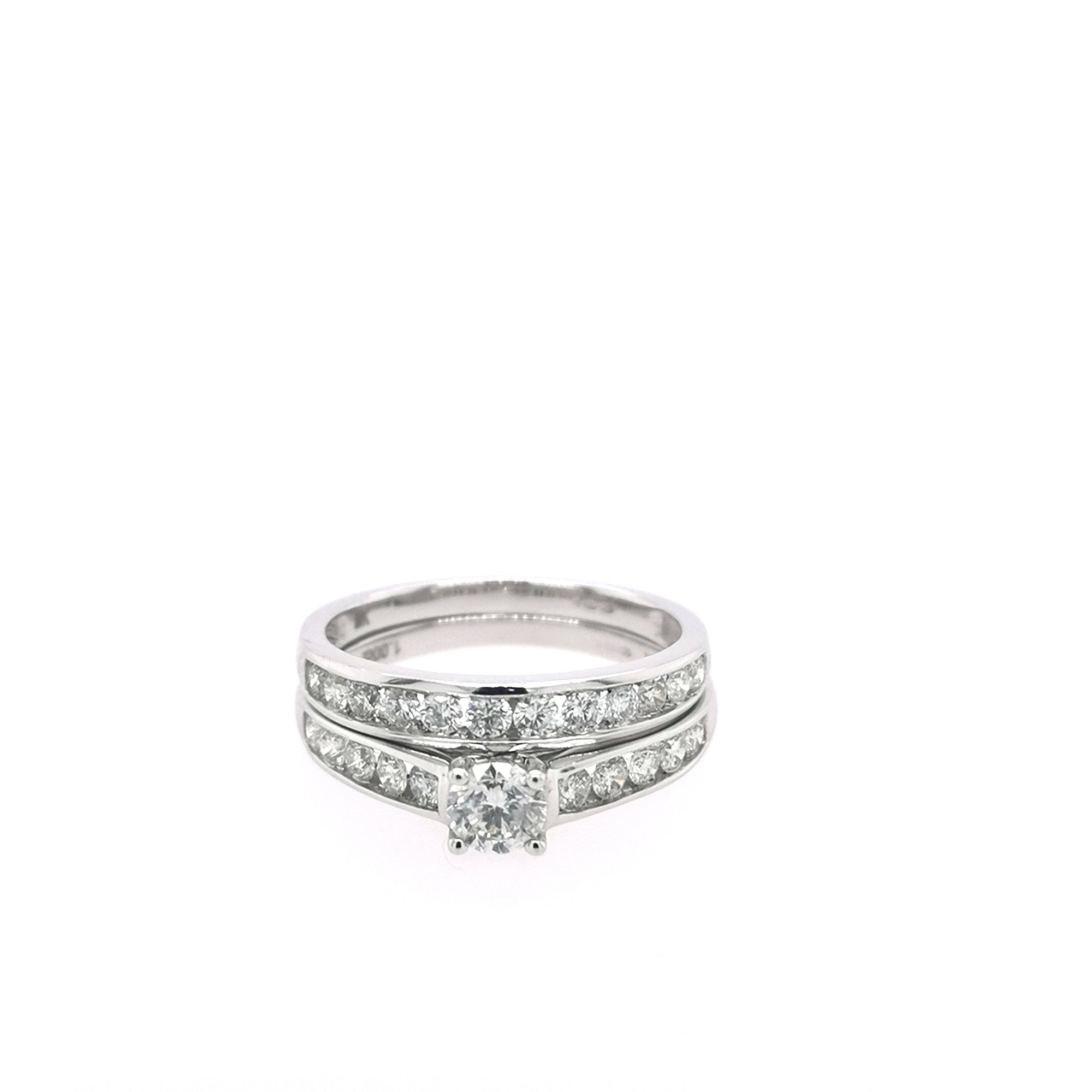 9ct White Gold Classic Solitaire Bridal Set 1.00ct - Sonny's Jewellers