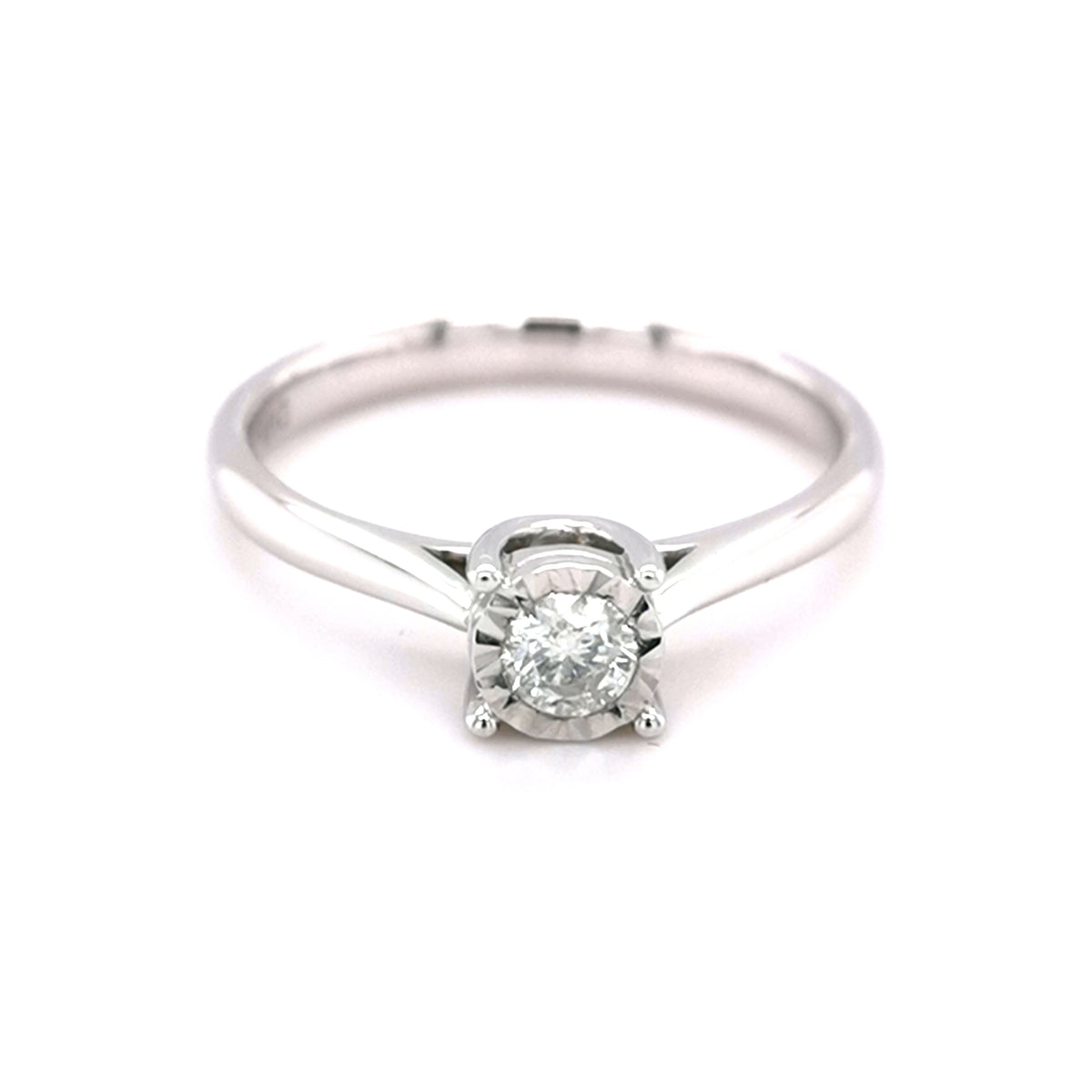 9ct White Gold Diamond Solitaire Ring - Sonny's
