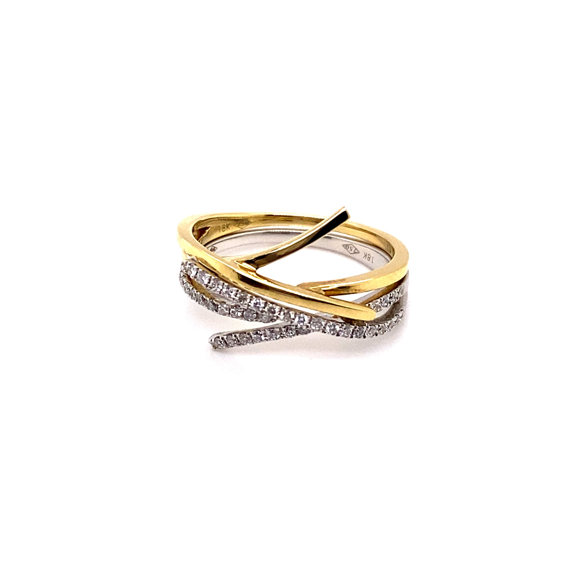 18ct Yellow and White Gold Diamond Stacker Ring - Sonny's Jewellers