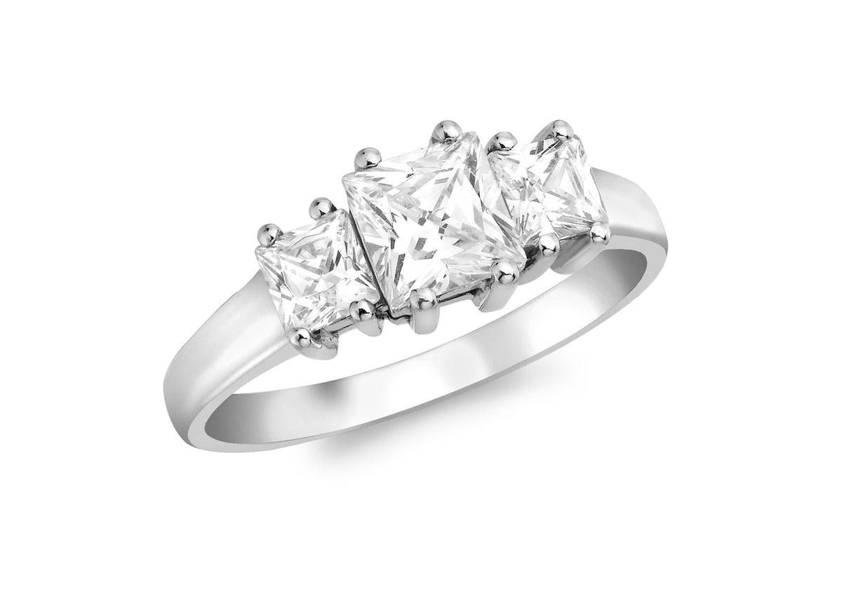 9ct White Gold Three Stone Cubic Zirconia Ring