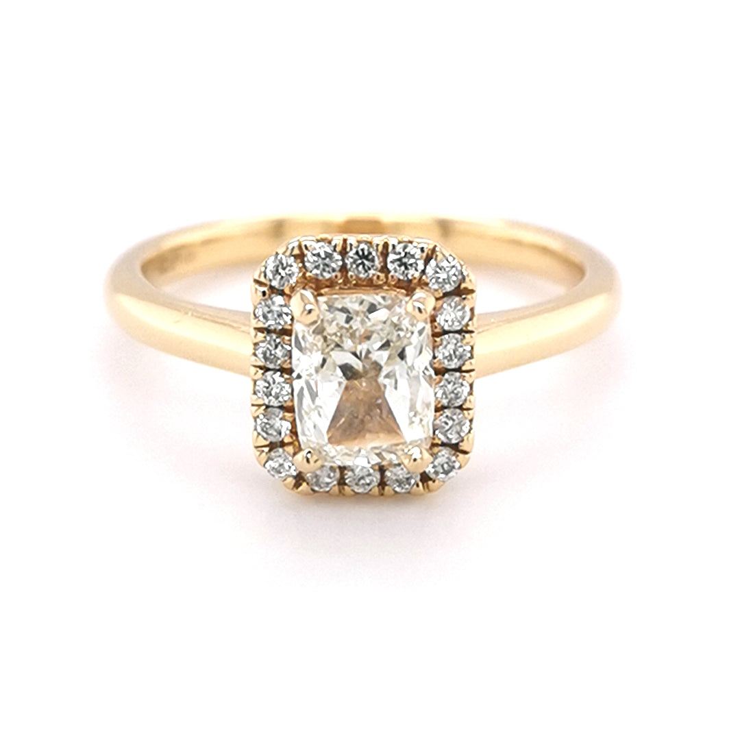 18ct Yellow Gold Halo Cushion Ring
