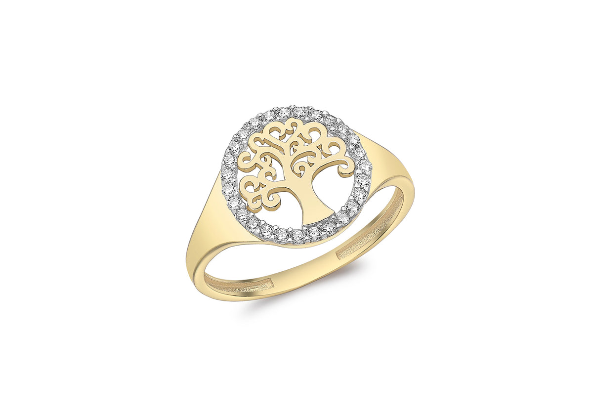 9ct Yellow Gold Cubic Zirconia set Tree of Life Ring