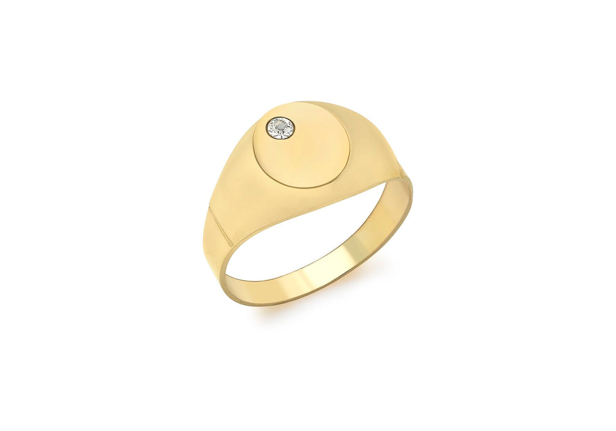 9ct Yellow Gold CZ Signet Ring