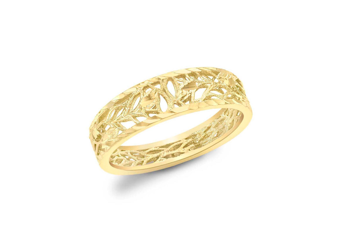 9ct Yellow Gold Open Leaf Patterned Band