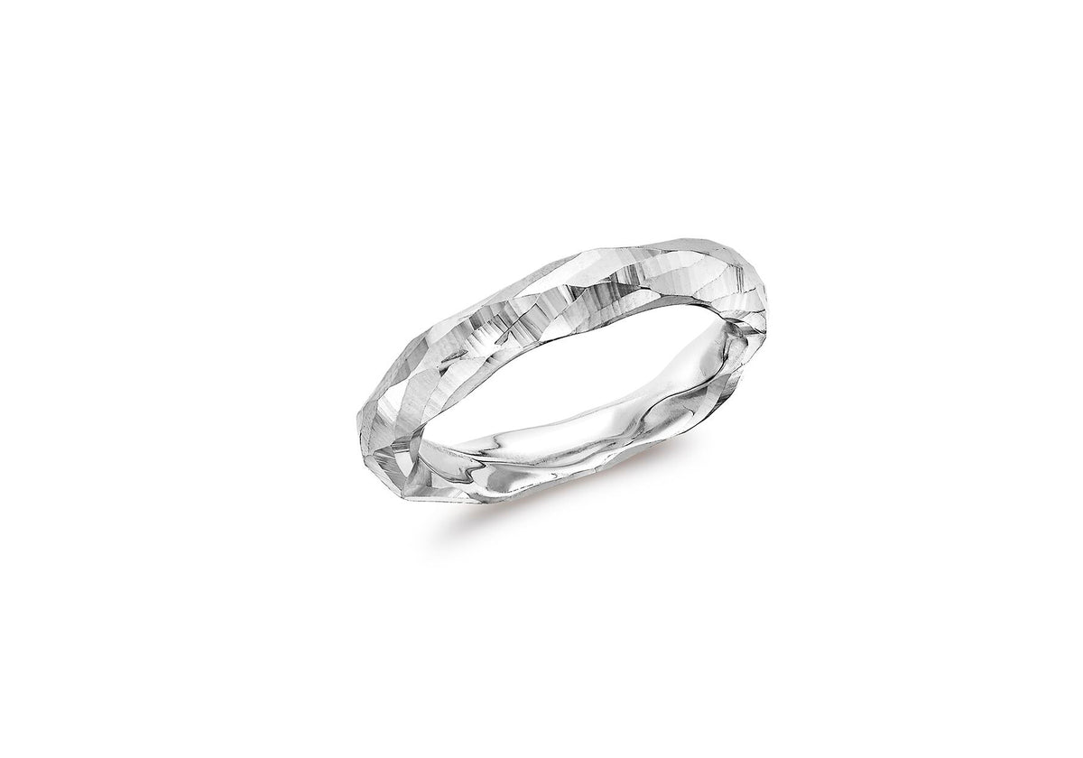 9ct White Gold Diamond Cut Faceted Ring