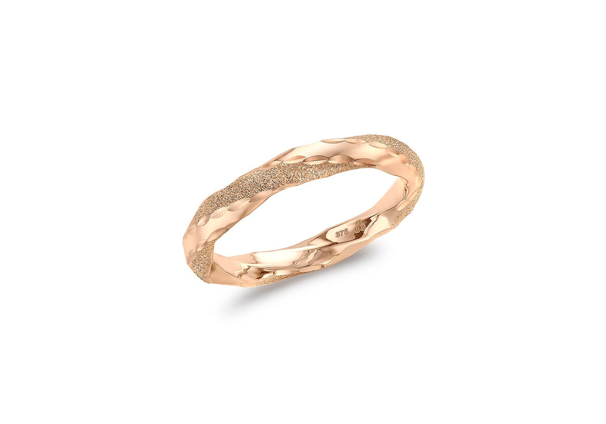 9ct Rose Gold Polished and Textured Twist Ring