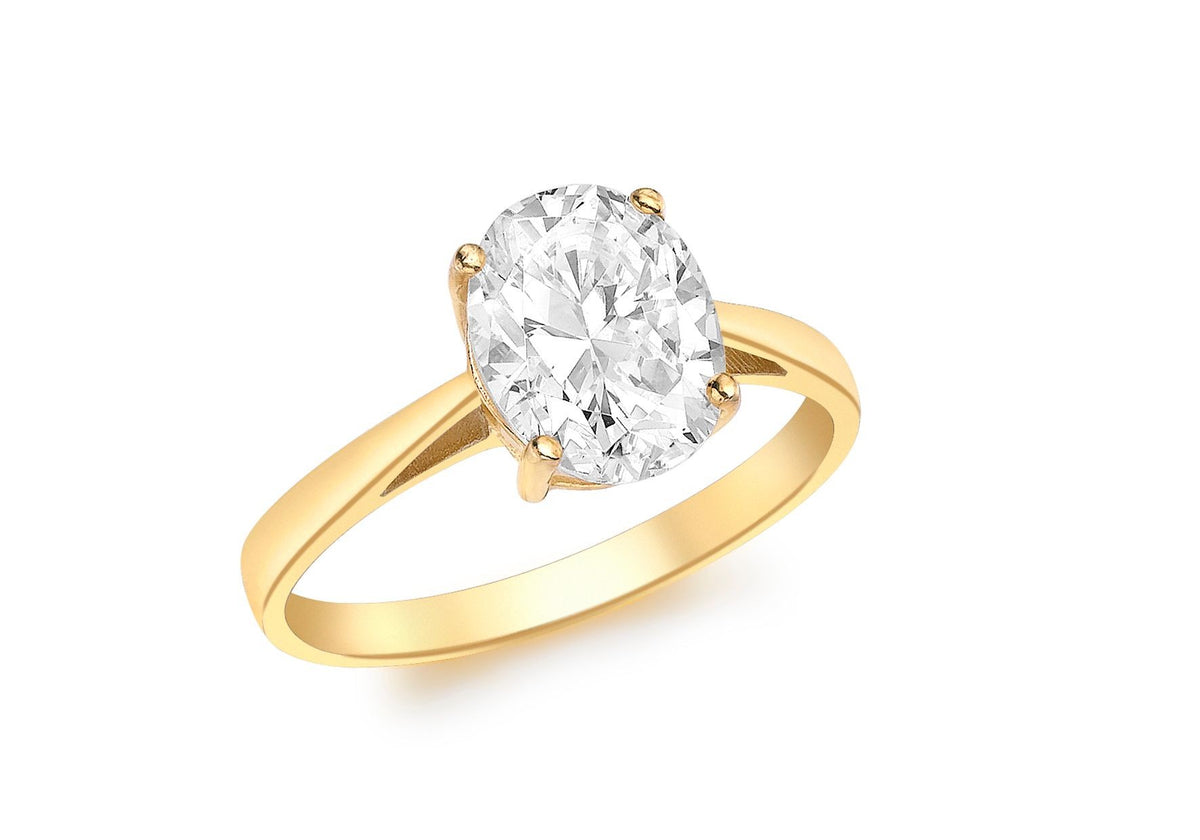 9ct Yellow Gold Oval Cut CZ Ring
