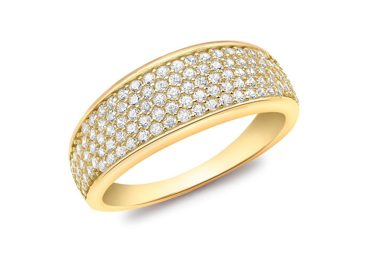 9ct Yellow Gold Pave Set Tapered CZ Ring