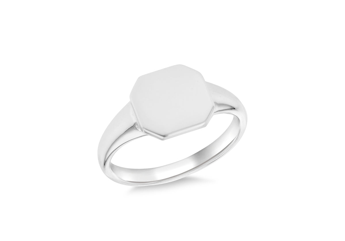 Silver Octagon Signet Ring