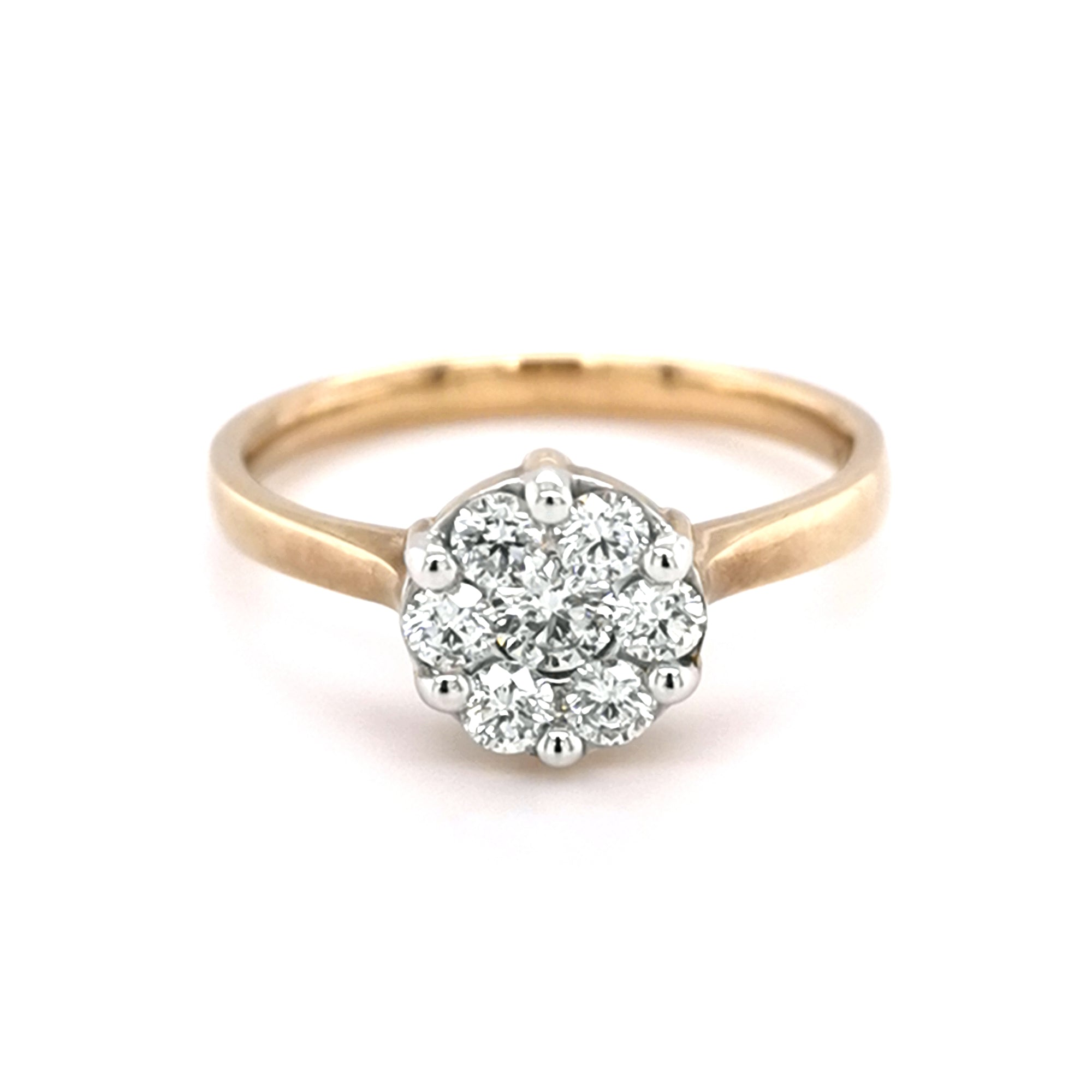 9ct Yellow Gold 0.52ct Diamond Cluster Style Ring - Sonny's
