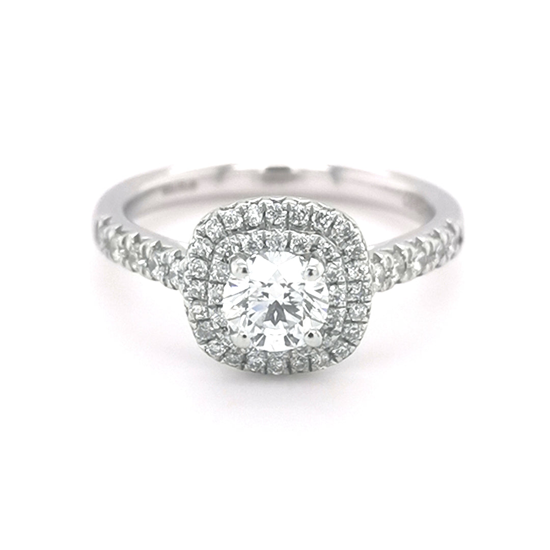 Platinum Round 0.50ct Diamond Double Halo Ring - Sonny's Jewellers
