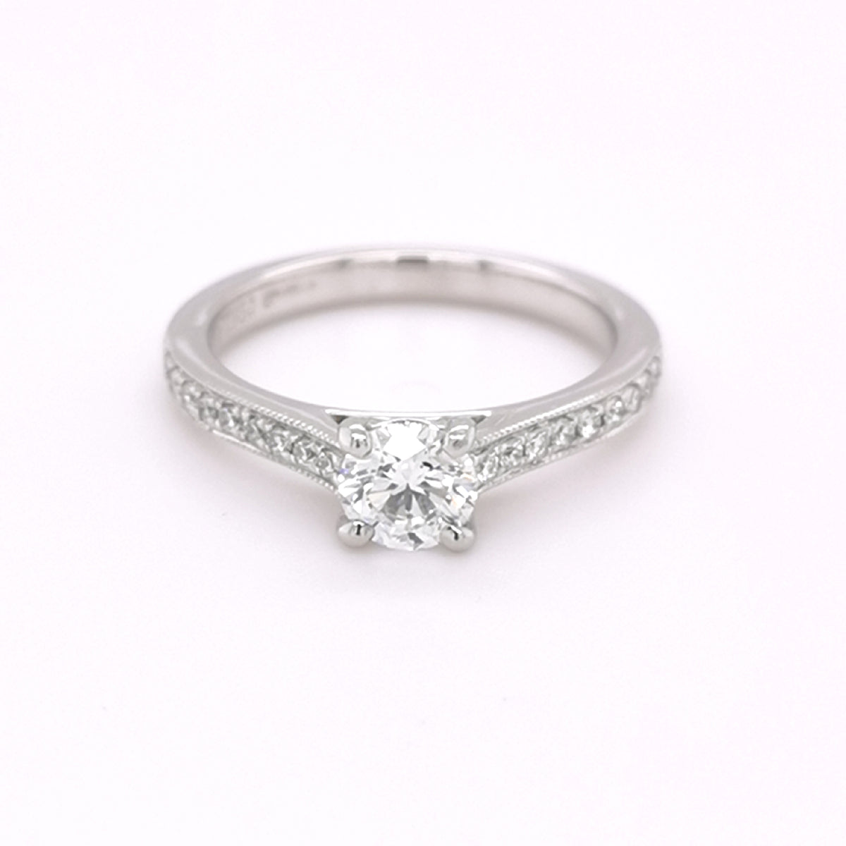 Platinum Round Briliant Cut 0.65ct Diamond Ring