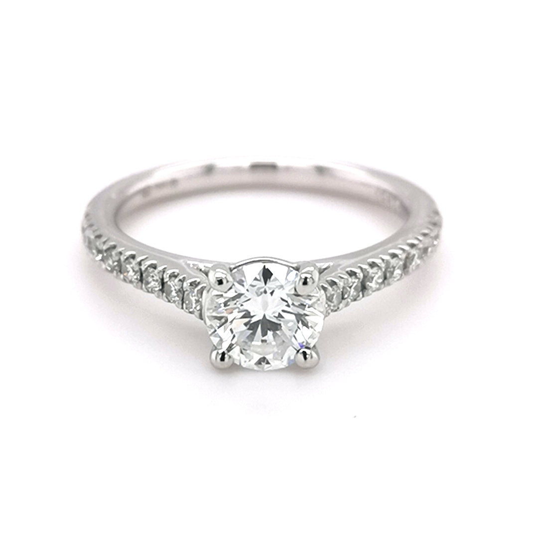 Platinum Round Brilliant Cut 0.88ct Diamond Ring
