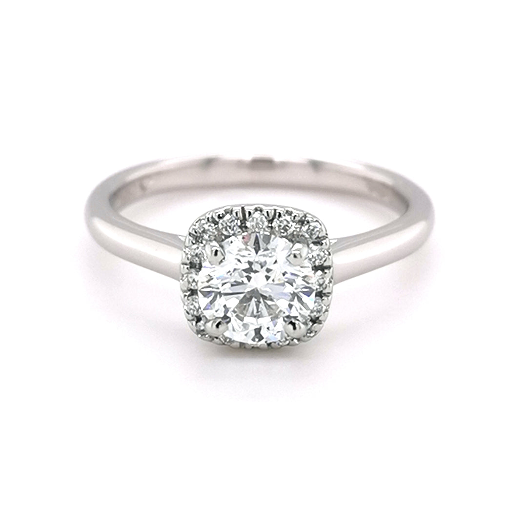 Platinum Round Brilliant Cut 0.99ct Diamond Halo Ring