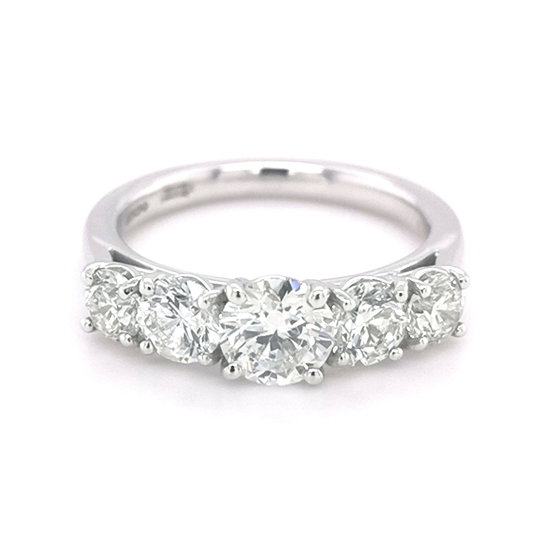 Platinum 5 Stone Diamond Ring - Sonny's Jewellers