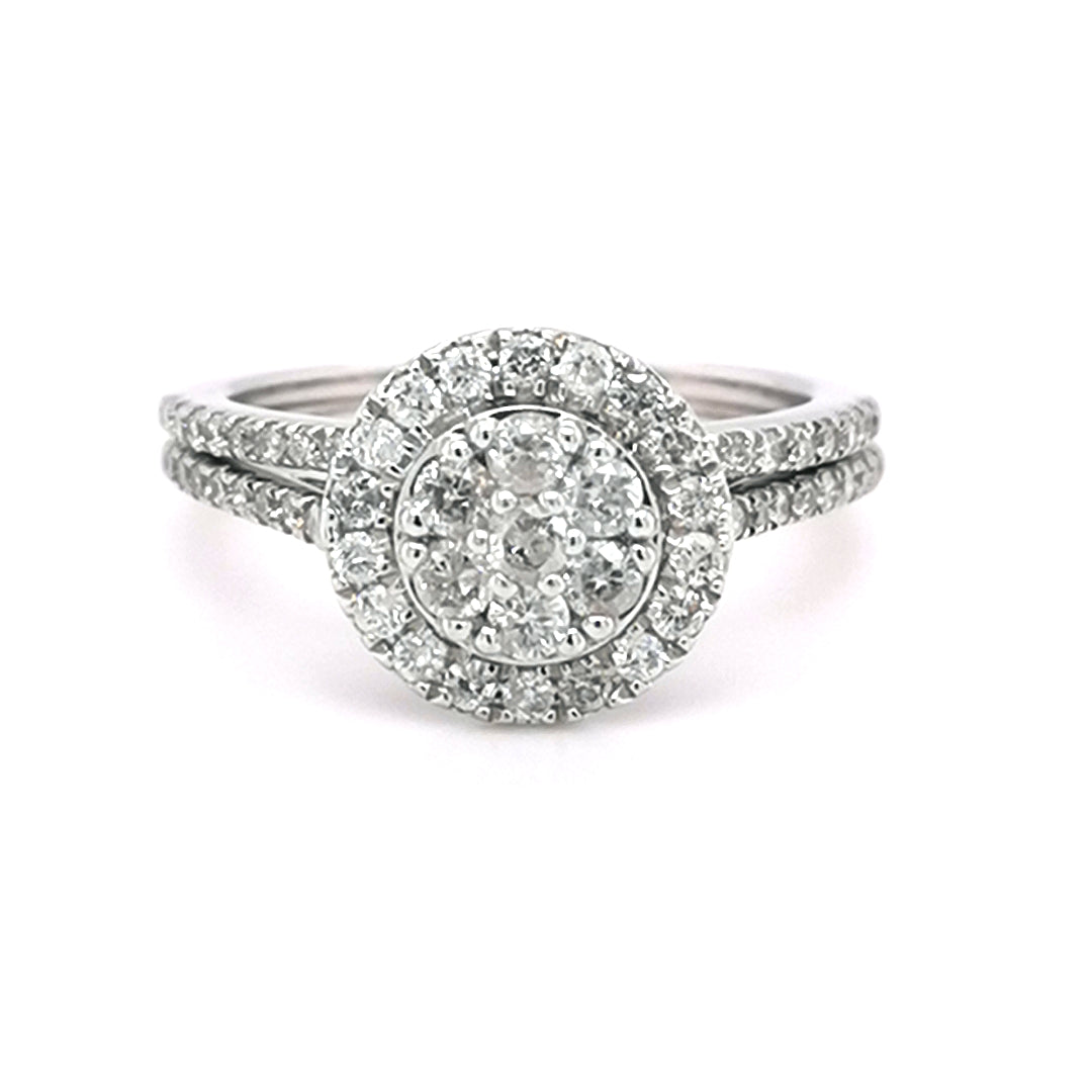 9ct White Gold Round Halo Diamond Bridal Set 1.00ct - Sonny's Jewellers
