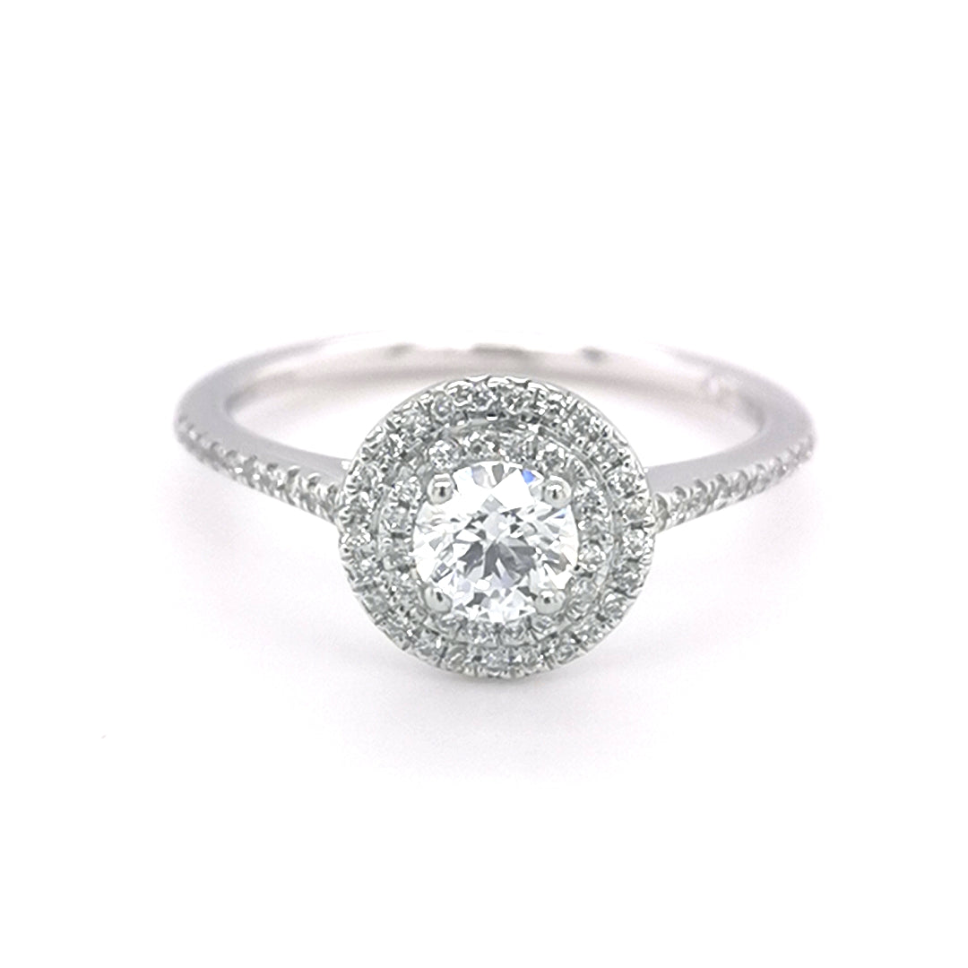 Platinum Round Brilliant Cut 0.53ct Diamond Halo Ring