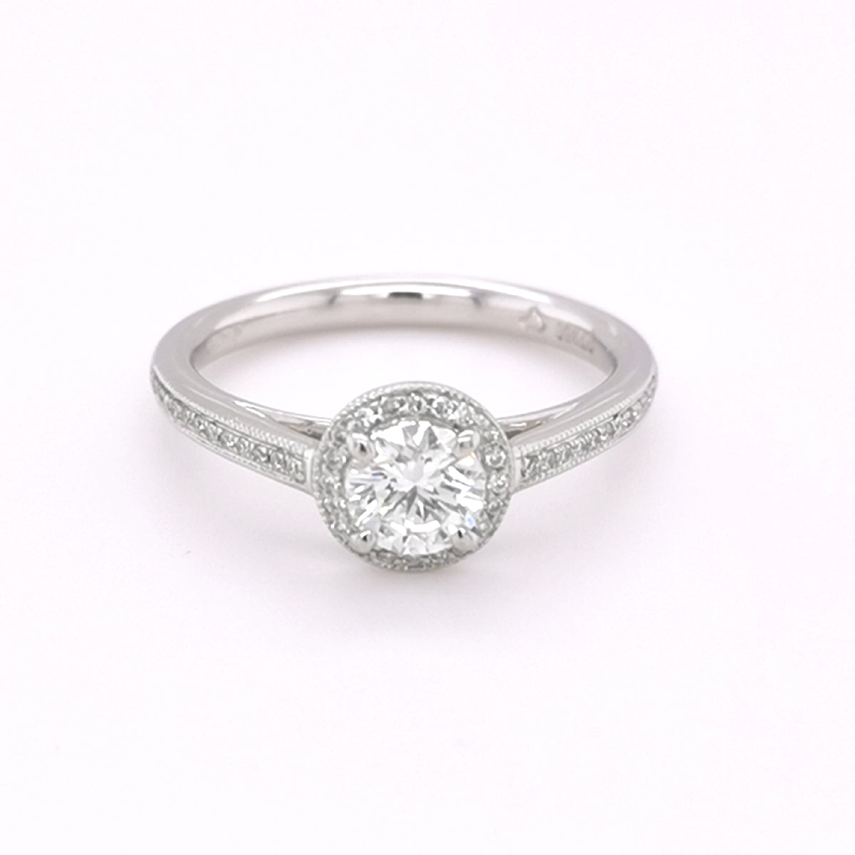 Platinum Round Brilliant Cut Diamond 0.66ct Halo Ring
